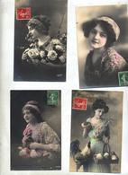 Lot 4 Carte Fantaisie Femme - Pin-Ups