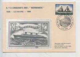 """Le Havre Carte Philatélique Il Y A 50 Ans """"paquebot Normandie"""" Maquette Crayon Timbre Poste émis 1935 - Le Havre"""