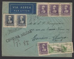 GUERRE D'ESPAGNE (Spanish War) Enveloppe Affrt à 8 Timbres  Oblt CERTIFICADO SABADELL+Sensure > GENEVE + Vignette - 1931-Aujourd'hui: II. République - ....Juan Carlos I