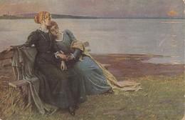 Fritz Raupp - Sonnenuntergang , Ladies At Sea Shore , Lesbian Interest 1919 - Künstlerkarten
