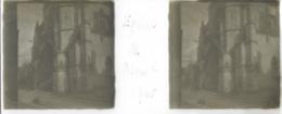 Plaque De Verre Stéréoscopique Positive - Année 1945 - Moret Sur Loing - L'Église - Plaques De Verre