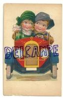 Couple D'enfants Dans Une Vieille Voiture. Verso : Colonie Scolaire Liégeoise Franchimont - Theux - Illustrateurs & Photographes