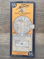CARTE ROUTIERE MICHELIN N° 55 . CAEN - PARIS  DE L ' ANNEE 1942 .  BON ETAT - Cartes Routières