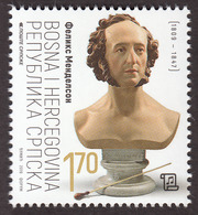 Bosnia Serbia 2019 Felix Mendelssohn Composer Music Germany Judaica MNH - Bosnie-Herzegovine