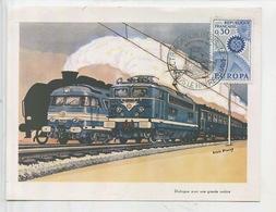 Louis Panel Peintre : Electrification Paris Le Havre 8 Décembre 1967 - Locomotive Timbre Europa 1967 - Trains
