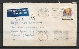 USED AIR MAIL COVER SINGAPORE TO PAKISTAN - Singapour (1959-...)
