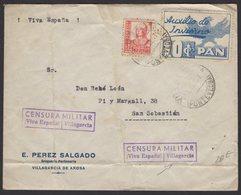 GUERRE D'ESPAGNE (Spanish War) Enveloppe Affrt à 1 Timbres + Vignette Auxilio De Iverno Obl VILAGARCIA + Censure >S SEBA - 1931-Aujourd'hui: II. République - ....Juan Carlos I