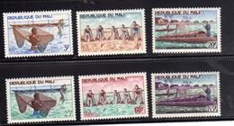 MALI 1966 RIVER FISHING PÊCHE EN RIVIÈRE PESCA DI FIUME COMPLETE SET SERIE COMPLETA MNH - Mali (1959-...)