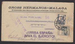 GUERRE D'ESPAGNE (Spanish War) Enveloppe Affrt à 1 Timbres + Vignette PRO MALAGA Obl MALAGA + Censure > WIEN - 1931-Aujourd'hui: II. République - ....Juan Carlos I
