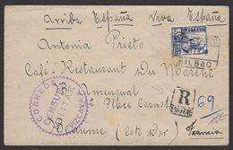 GUERRE D'ESPAGNE (Spanish War) Enveloppe Affrt à 1 Timbres Oblt CERTIFICADO BILBAO  + Censure VIZCAYA > BEAUNE - 1931-Aujourd'hui: II. République - ....Juan Carlos I
