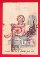 Illust-634P66  Germaine BOURET, Comme C'est Dur Se S'habiller Toute Seule, Cpa (état) - Bouret, Germaine