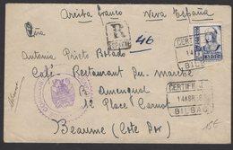 GUERRE D'ESPAGNE (Spanish War) Enveloppe Affrt à 1 Timbres Oblt CERTIFICADO BILBAO  + Censure BILBAO > BEAUNE - 1931-Aujourd'hui: II. République - ....Juan Carlos I