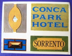 HOTEL ALBERGO PENSIONE NO CONCA PARK SORRENTO ITALIA ITALY TAG DECAL STICKER LUGGAGE LABEL ETIQUETTE AUFKLEBER - Hotel Labels