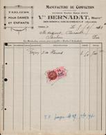 FACTURE VEUVE BERNADAT - MANUFACTURE DE CONFECTION - BOURBON L'ARCHAMBAULT - ALLIER - AUCOURT - SAULIEU - 05 AVRIL 1940 - 1900 – 1949