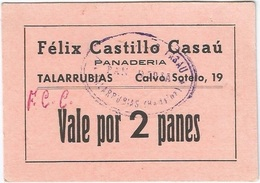 España - Spain Vale 2 Panes Talarrubias (Badajoz) Con Sello Y Firma UNC - [ 3] 1936-1975 : Régimen De Franco