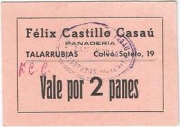 España - Spain Vale 2 Panes Talarrubias (Badajoz) Con Sello Y Firma UNC Ref 3045-3 - [ 3] 1936-1975 : Régimen De Franco