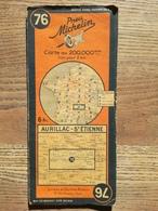 CARTE ROUTIERE MICHELIN N° 76 . AURILLAC - SAINT - ETIENNE . ANNEES 1940 / 1945 .5 REVISEE EN 1937 .  BON ETAT . - Cartes Routières