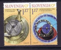 3333 Slowenien Slovenia Joint Slovakia Slovensko 2019 ** MNH Pair Sundial Astronomical Clock - Slovénie