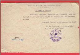 LAISSEZ PASSER DU 3e BATAILLON F.F.I. DE GUEMENE PENFAO 21.09.44 A PENCOAT INSTITUTEUR A PLESSE LOIRE ATLANTIQUE WWII - Documents