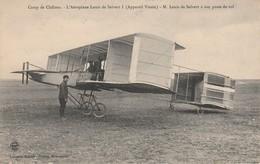 """CPA:AVION AÉROPLANE """"LOUIS DE SALVERT I"""" AVIATEUR À SON POSTE DE VOL CAMP DE CHALONS SUR MARNE (51).ÉCRITE - Avions"""