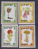Ethiopie N° 1094 / 97 XX  Flore : Fleurs,  Les 4 Valeurs Sans Charnière, TB - Ethiopie