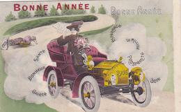 Cpa / Carte Photo-automobile-femme Conduisant -bonne Année Millesime 1906 - Voitures De Tourisme