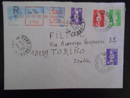 France Marianne Du Bicentenaire , Lettre Recommandee De Ezy-sur-eure 1992 Pour Torino - 1989-96 Marianne Du Bicentenaire