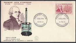 YN351    PHYSICIEN - PHYSICAL *  Charles Augustin COULOMB BALANCE A TORSION - FRANCE FDC 1961 - Physique
