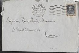 STORIA POSTALE REGNO - ANNULLO MECCANICO A 7 STRISCIE ONDULATE GENOVA/SMISTAMENTO 14.11.1927 - 1900-44 Victor Emmanuel III