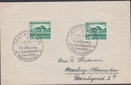 1938. Gautheater Saarpfalz. 2 X 6+4 Pf. FDC. SAARBRÜCKEN -9.10.38 Eröffnung Des Gauth... (Michel DR 673) - JF310463 - Allemagne