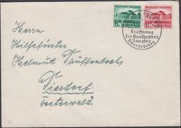 1938. Gautheater Saarpfalz. 6+4 Pf + 12+8 Pf. FDC. SAARBRÜCKEN -9.10.38 Eröffnung Des... (Michel DR 673-674) - JF310466 - Allemagne