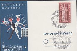 1958. Berlin. 25 Pf. DEUTSCHE KULTUR U. HEIMAT. KARLSRUHE 2. Oberrheinische Hotel- U.... (MICHEL 173) - JF310560 - Lettres