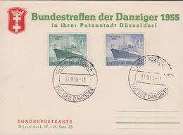 1955. Berlin. 10 + 25 Pf. MS BERLIN. DÜSSELDORF TAG DER DANZIGER 17.9.55. Postkarte: ... (MICHEL 126-127) - JF310569 - Dantzig