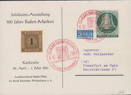 1951. Berlin. 10 Pf. FREIHEITSGLOCKE BERLIN . KARLSRUHE (BADEN) JUBILÄUMSAUSSTELLUNG ... (MICHEL 76) - JF310571 - Lettres