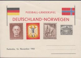 1955. Berlin. 4+1 Pf. DER KAISER-WILLHEIM-GEDÄCHTNISKIRCHE. Postkarte: FUSSBALL-LÄNDE... (MICHEL 106+) - JF310575 - Covers
