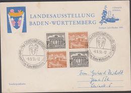 1955. Berlin. 2 X 1 Pf BRANDENBURGER TOR + 2 X 4 Pf. STUTTEGART Landesausstellung Bad... (MICHEL 42-43) - JF310587 - [5] Berlin
