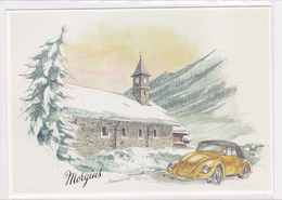 Cp -auto-illustrateur E. Monnet-voiture Volkswagen Coccinelle-morgins (suisse) - Voitures De Tourisme