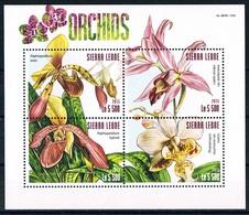 Bloc Sheet Fleurs Orchidees Flowers Orchids  Neuf ** MNH  Sierra Leone 2015 - Orchideen