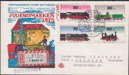 1975. Berlin. LOKOMOTIVEN BERLIN- 12 JUGENDMARKE ERST. AUSG. 15.4.1975. FDC.  (MICHEL 488-491) - JF310687 - Berlin (West)