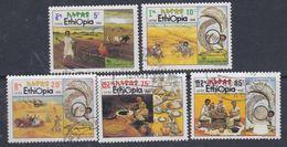 Ethiopie N° 1276 / 80 O  Culture Vivrière  Les 5 Valeurs Oblitérations Légères Sinon TB - Äthiopien