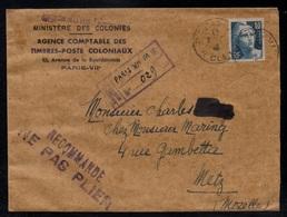 MARIANNE DE GANDON 10 F BLEU GRAVE / 1946 SEUL SUR RECOMMANDE PROVISOIRE DE PARIS POUR METZ (ref LE3337) - 1945-54 Maríanne De Gandon