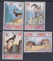 Ethiopie N° 1281 / 84 O  Espèces Animales En Danger  Les 4 Valeurs Oblitérations Légères Sinon TB - Ethiopie