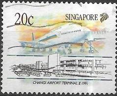 SINGAPORE 1991 Singapore Civil Aviation - 20c - Changi Airport Terminal II, 1991, And Boeing 747-400 FU - Singapour (1959-...)