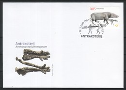 3333 A93 Slowenian Slovenia 2019 FDC Archeological Finds The Anthracothere Oligocene Mammal - Slovénie