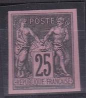 SAGE 25C REIMPRESSIONS GRANET NOIR SUR ROSE. NSG COTE YT97c 100E - 1876-1898 Sage (Type II)