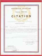 CROIX DE GUERRE AVEC ETOILE DE BRONZE GUERRE 1939 1945 WWII CITATION POUR RESISTANCE A PENCOAT INSTITUTEUR A PLESSE  44 - Dokumente