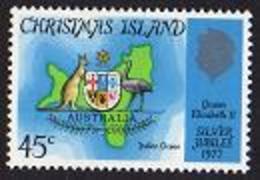 Christmas Island, 1977, Silver Jubilee Queen Elizabeth, Map, Royal, MNH, Michel 85 - Christmas Island