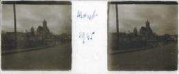 Plaque De Verre Stéréoscopique Positive - Année 1945 - Moret Sur Loing - Vue Sur L'Église - Plaques De Verre