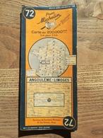 CARTE ROUTIERE MICHELIN N° 72 . ANNEE 1945 . ANGOULEME - LIMOGES . BON ETAT . - Cartes Routières