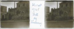 Plaque De Verre Stéréoscopique Positive - Année 1945 - Moret Sur Loing - Porte Du Faubourg - Plaques De Verre